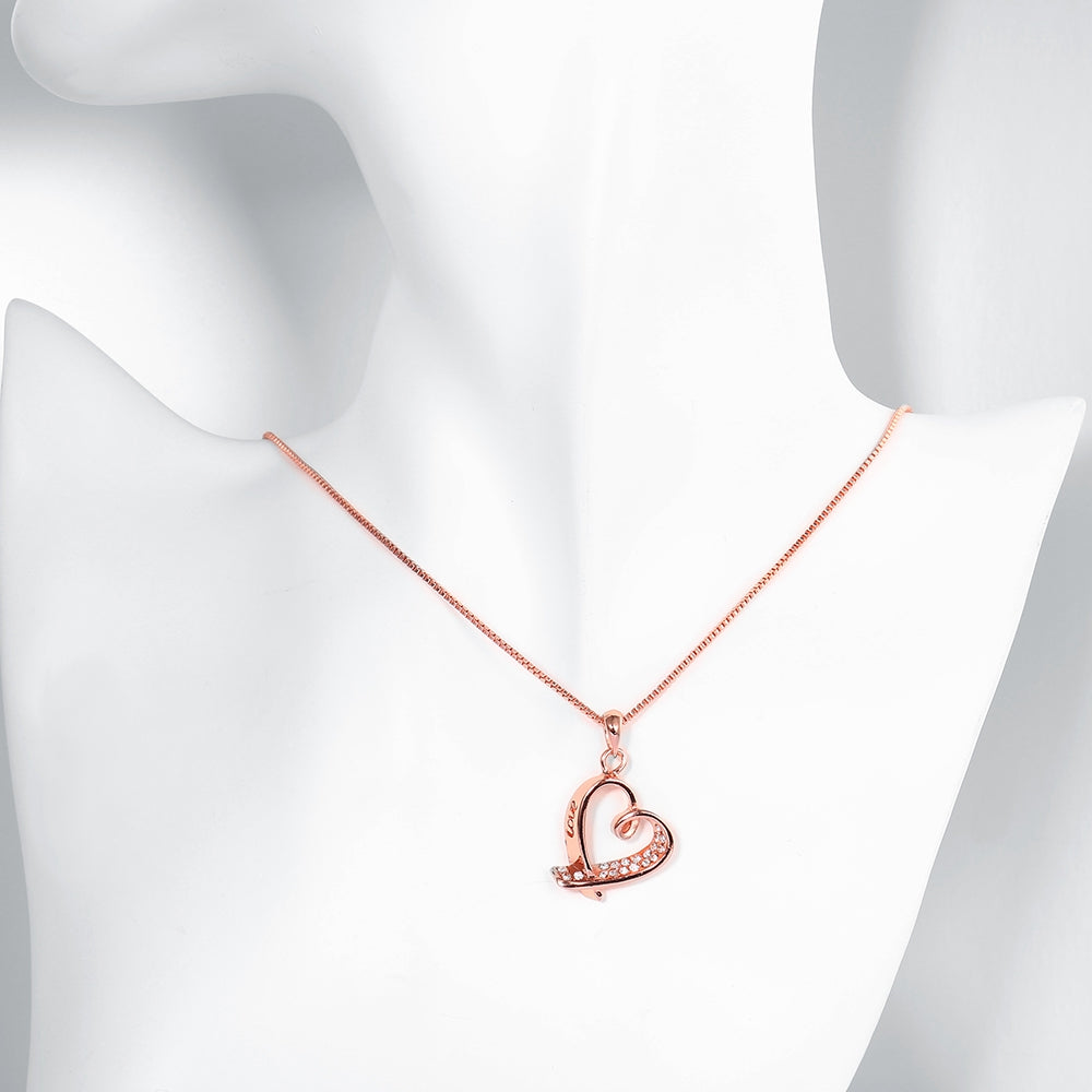 Pave Heart Necklace in 18K Rose Gold Plated  Crystals