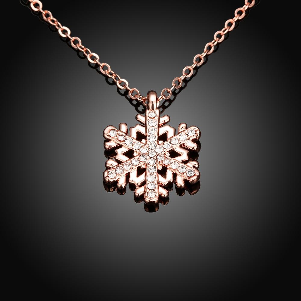 Crystal Snowflake Necklace in 18K Rose Gold Plated