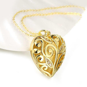 Crystal Filigree Heart Necklace in 18K Gold Plated
