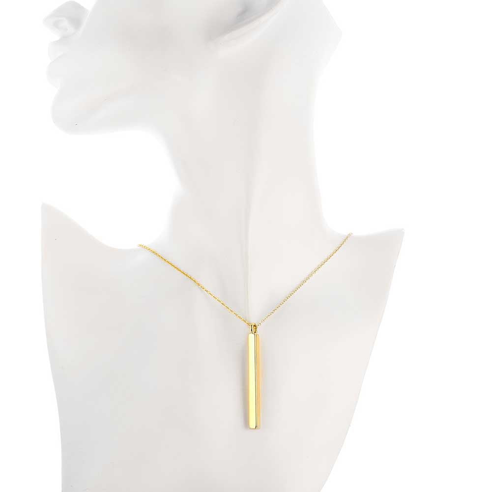 Verticle Bar Drop Necklace in 18K Gold Plated