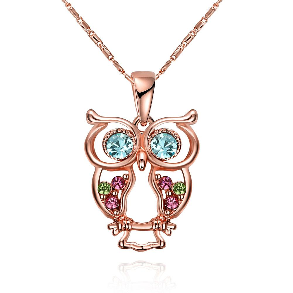 Owl Rainbow  Elements Necklace in 14K Rose Gold