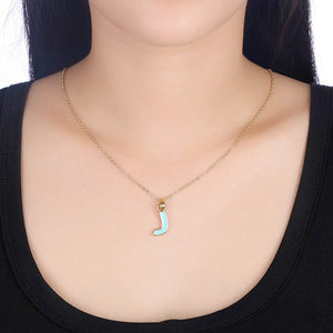 Baby Blue J Necklace in 18K Gold Plated