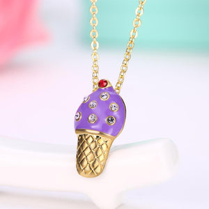 Purple Ice Cream Necklace in 18K Gold Plated