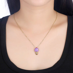 Grape Ice Cream Necklace in 18K Gold Plated