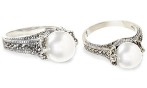 Freshwater Pearl And Genuine Marcasite Silver Ring