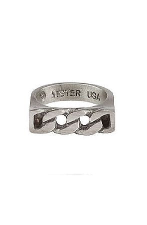 Father's Day Gift 14K White Gold Plating Curb Link Statement Men's Ring