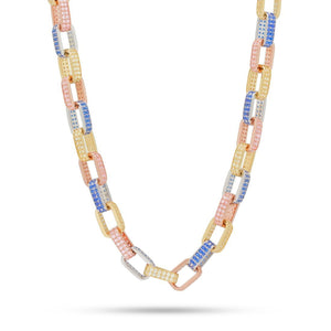"Pave Gucci Link BOX Tri Color 16"" Choker Necklace in 18K Gold Plated"