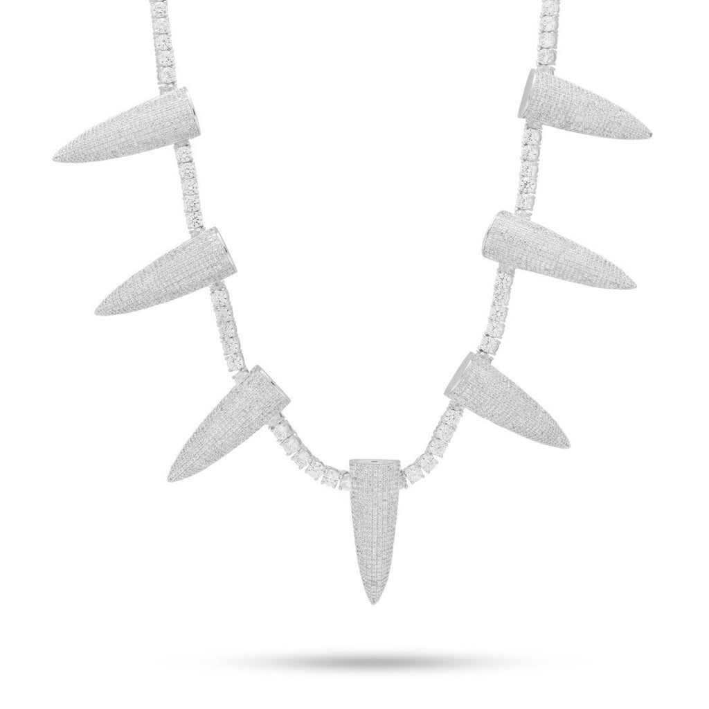 Pave Spike Necklace Embellished with  Crystals in 18K White Gold Plated