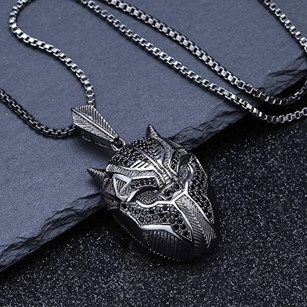 Black Iced Out Crystal Pav'e Panther Pendant Necklace