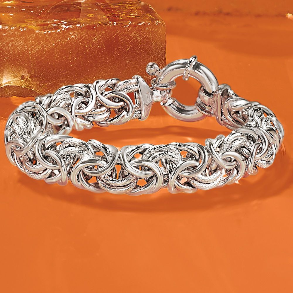 Thick Cut Bolivian Design Byzantine Unisex Bracelet in 14K White Gold Plating