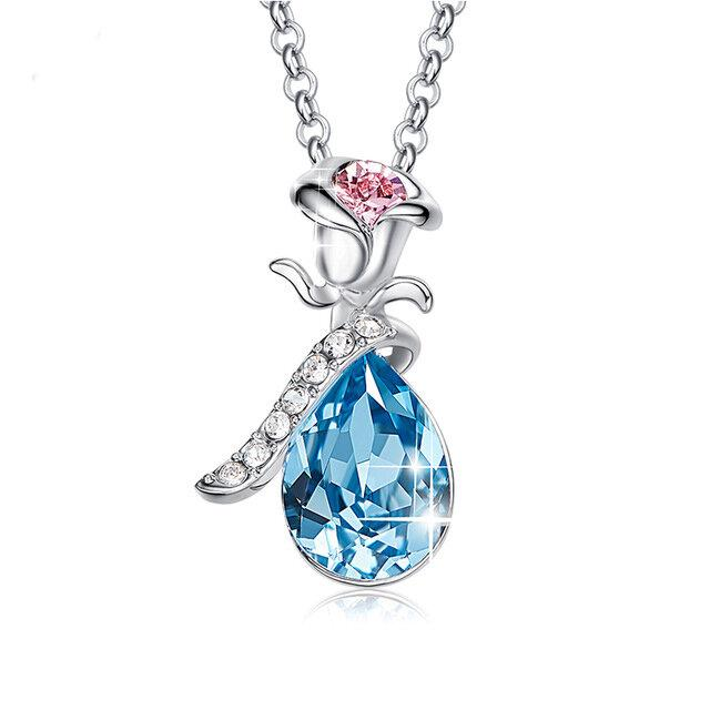 Swarovski Crystals Aquamartine Waterdrop with Pink Topaz Rose  Necklace