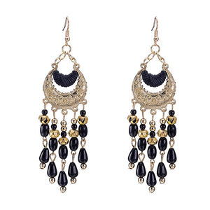 Fringe Black Drop Earring in 18K Gold Plated