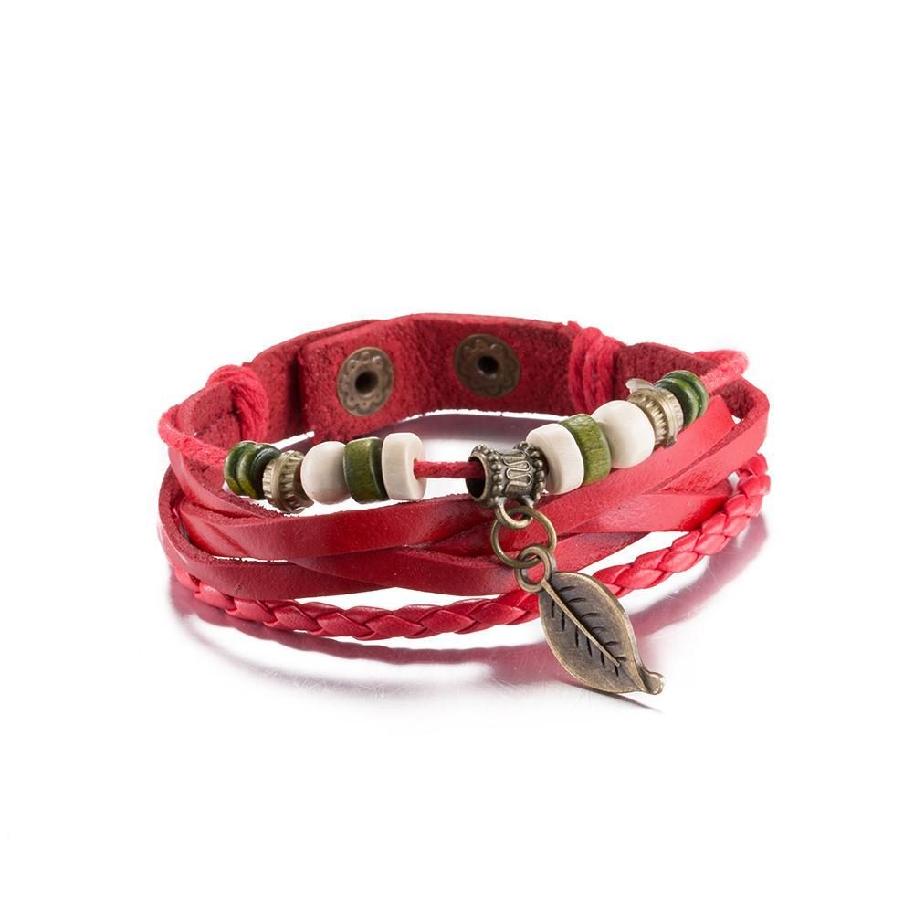 Leather Bracelet with Stainless Steel