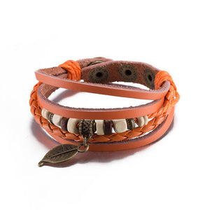 Orange Leaf Vegan Leather Bracelet in 18K White Gold Plated