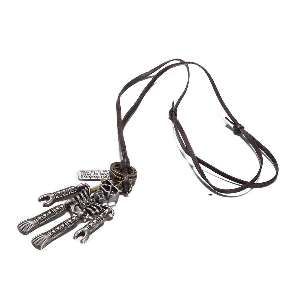 Robot Stainless Steel and Leather Necklace