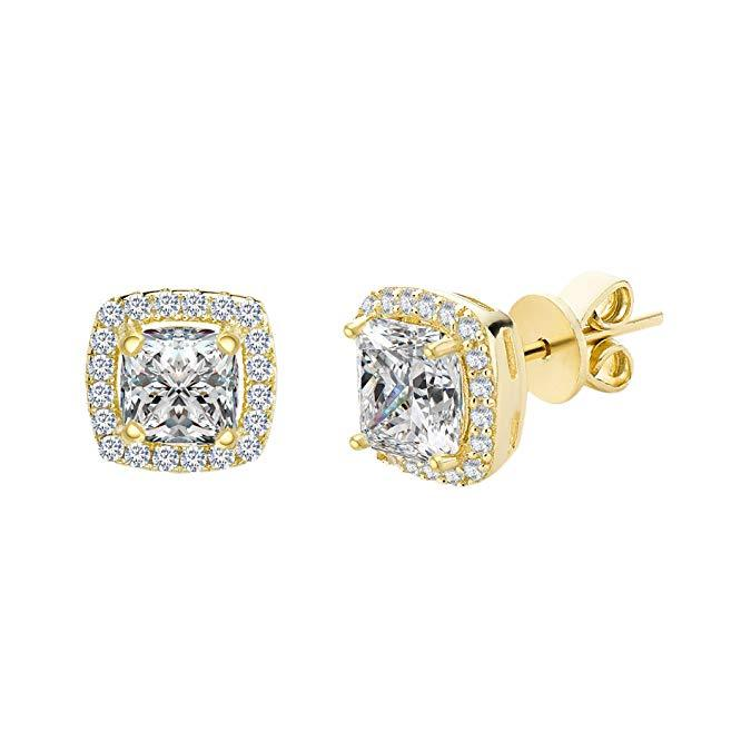 Princess Cut Halo Stud Earrings in 14K White Gold Plating Made with Swarovski Crystals