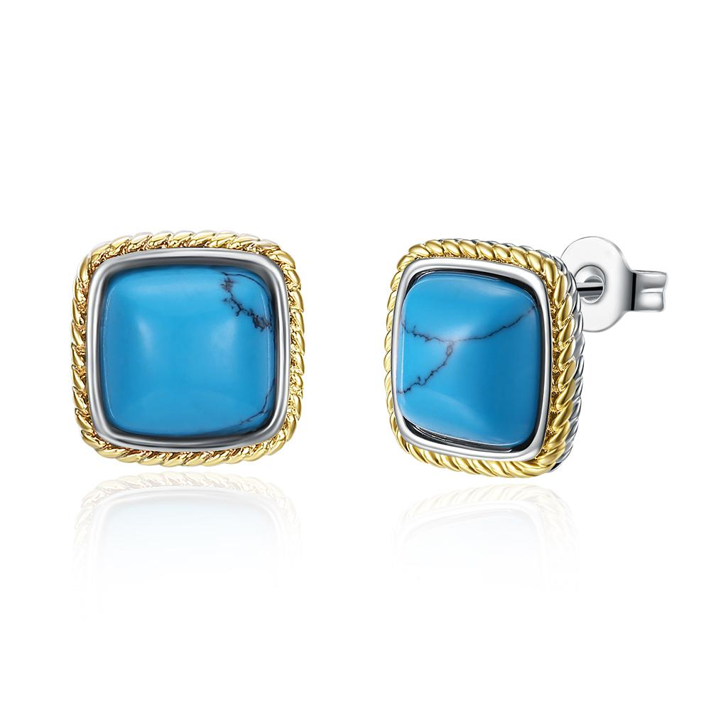 1.00 Ct Turquoise Greek Style Stud Earring in 18K Gold Plated, Earring, Riakoob Jewelry, Riakoob Jewelry  jewelryjewelry deals, swarovski crystal jewelry, groupon jewelry,, jewelry for mom,