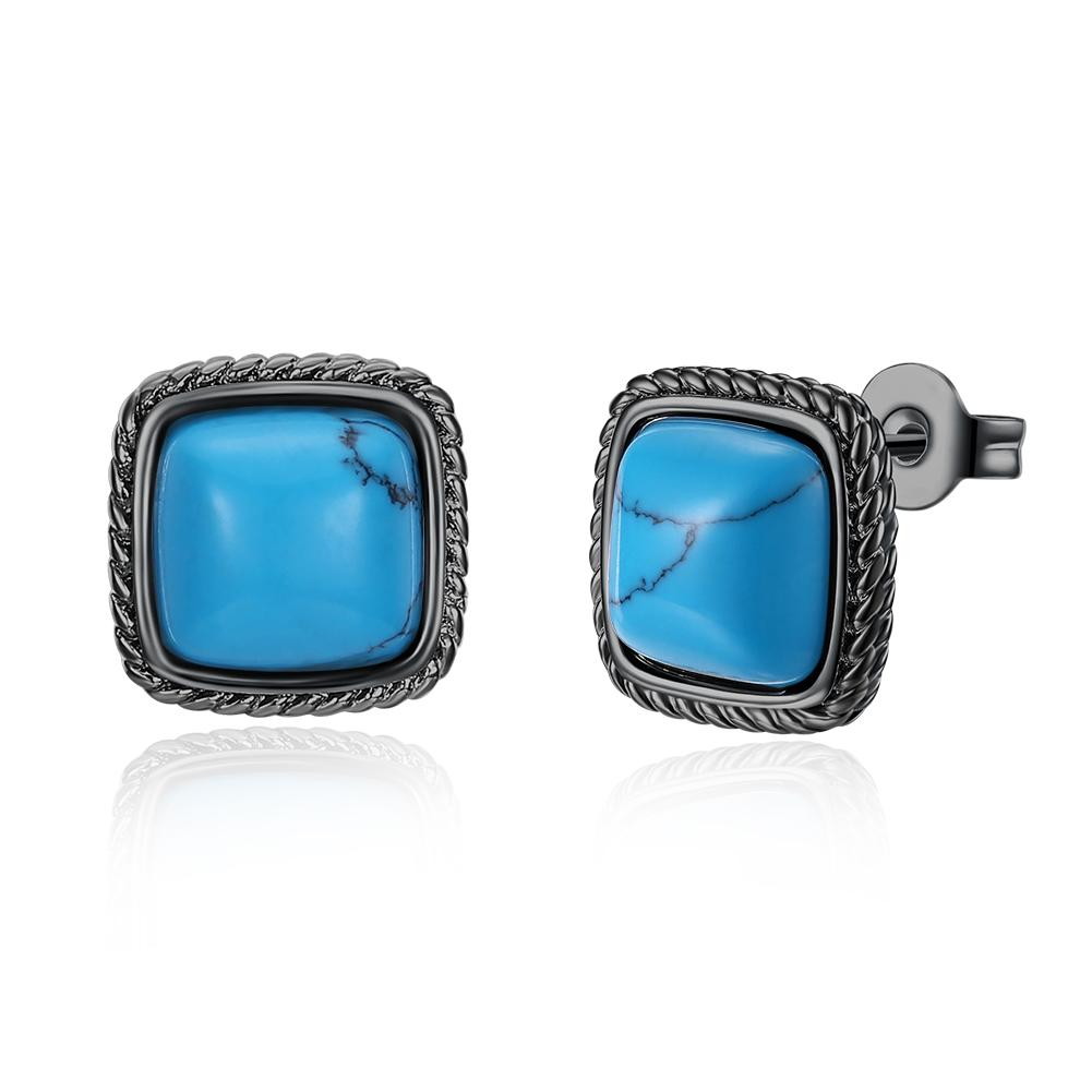 1.00 Ct Turquoise Greek Style Stud Earring in 18K White Gold Plated, Earring, Riakoob Jewelry, Riakoob Jewelry  jewelryjewelry deals, swarovski crystal jewelry, groupon jewelry,, jewelry for mom,