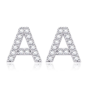 Crystals Pave Letter Stud Monogram Initial Earrings in 18K White Gold Filled