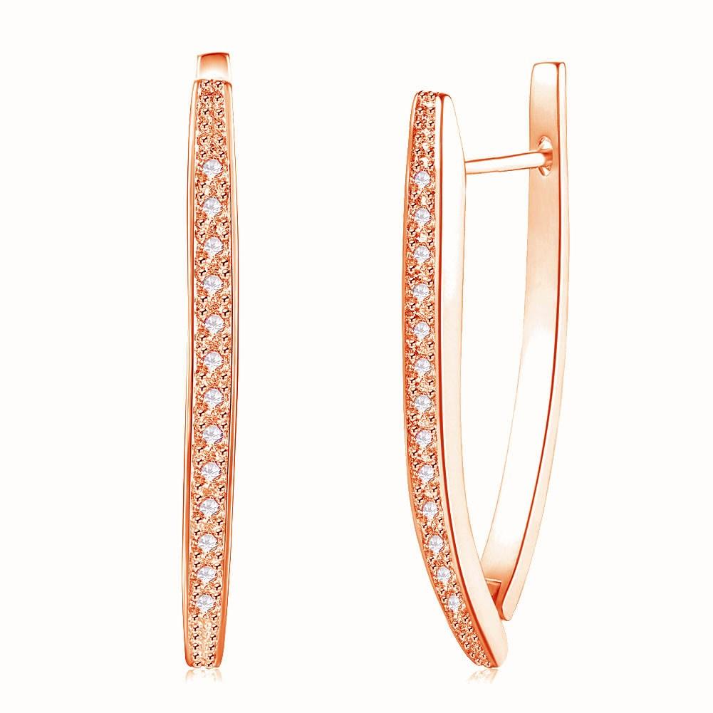 1.00 CT Dangling Pave  Elements Teardrop Earrings in 14K Rose Gold Plating