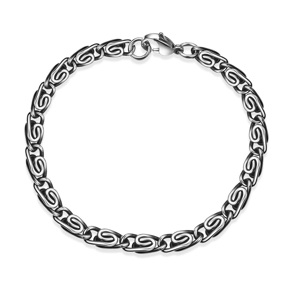 Father's Day Gift Stainless Steel Byzantine Curb Modern Italian Chain Bracelet