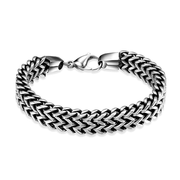 Father's Day Stainless Steel 2 Row Layers Wheat Chain Men's Bracelet