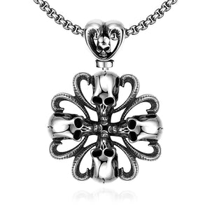 Father's Day Gift Mini Skull Clover Stainless Steel Pendant Necklace