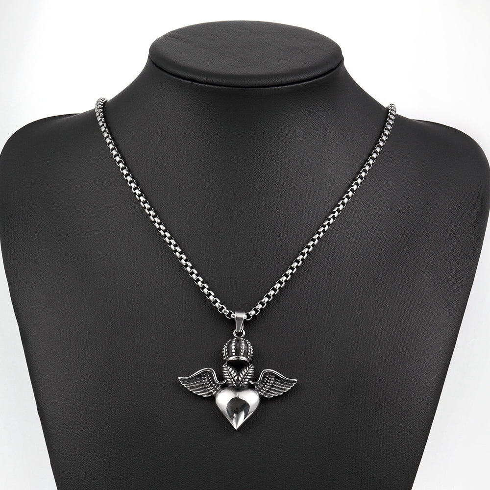 Heart Wings Necklace in Stainless Steel