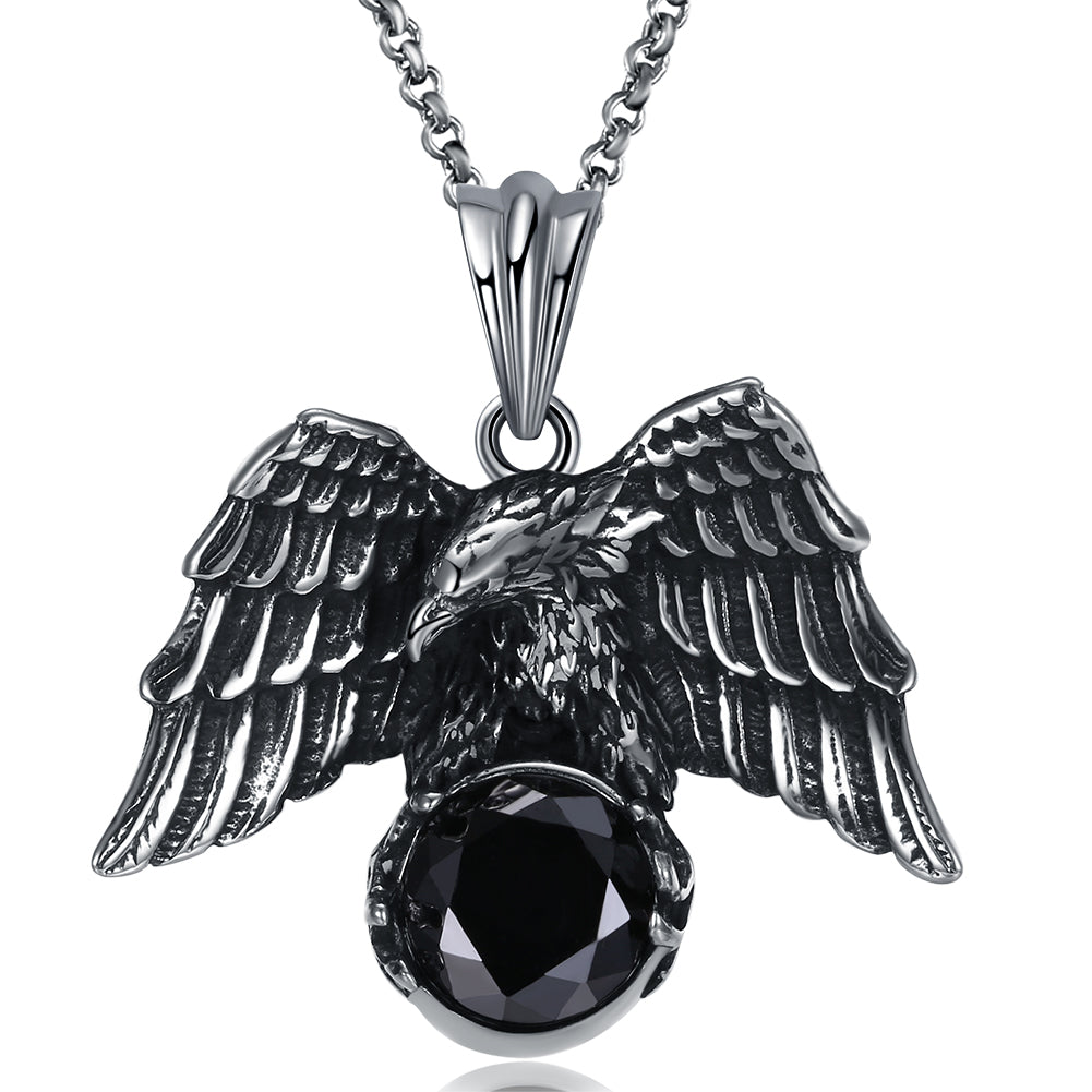 Father's Day Gift Stainless Steel Black Crystal Hawk Men's Pendant Necklace