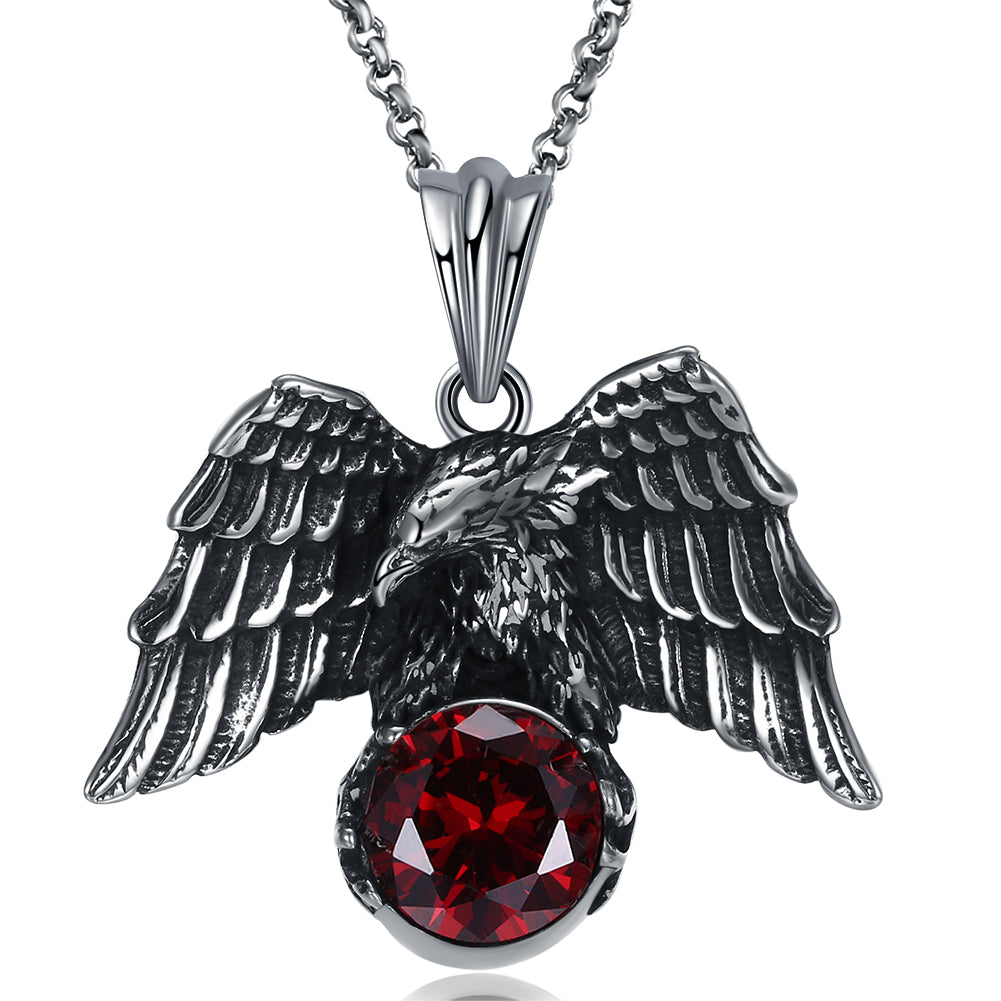 Father's Day Gift Stainless Steel Red Crystal Hawk Men's Pendant Necklace