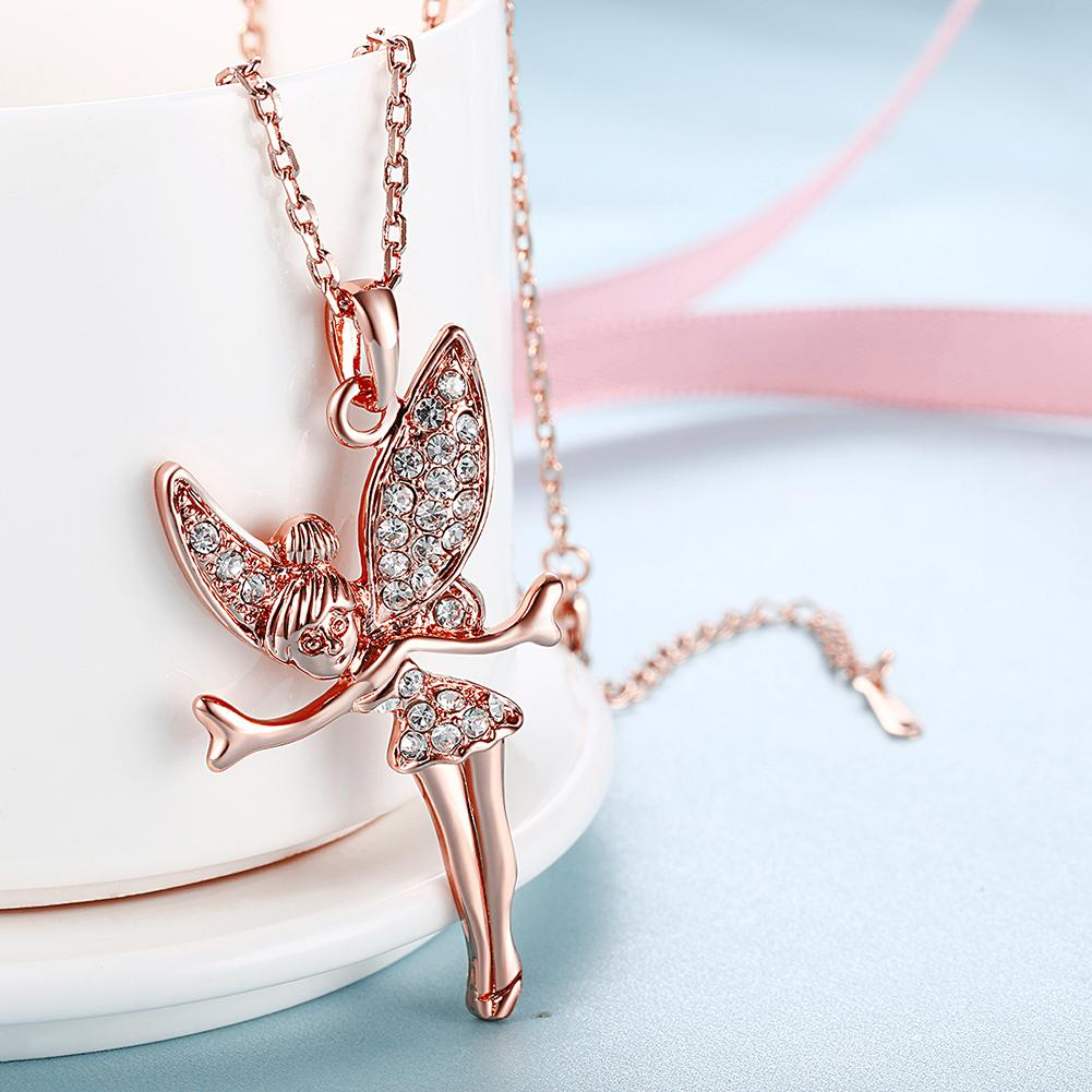 Tinkerbell Classic Necklace Embellished with  Crystals in 18K Rose Gold Plated