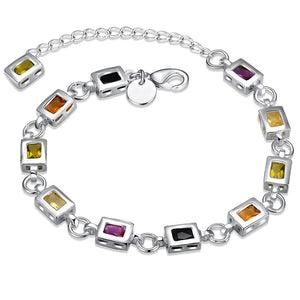Rainbow  Square Cut Bracelet in 18K White Gold