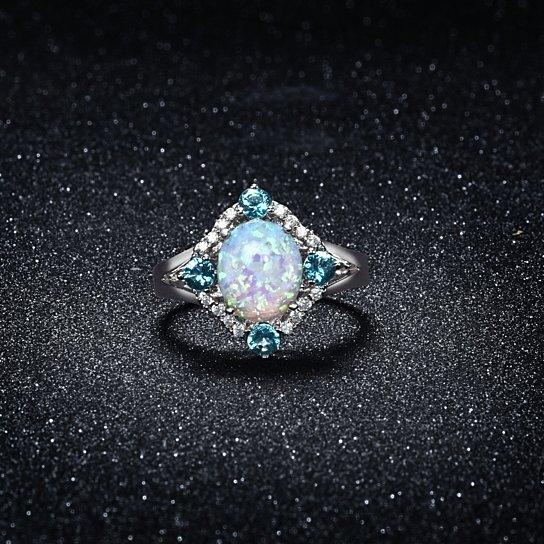 Aquamarine Opal Ring Set in 18K White Gold, Rings, Riakoob Jewelry, Riakoob Jewelry  jewelryjewelry deals, swarovski crystal jewelry, groupon jewelry,, jewelry for mom,