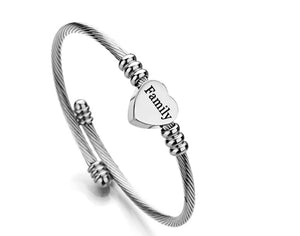 "Gratuity Gift ""Family"" Stainless Steel Charm Bangle"