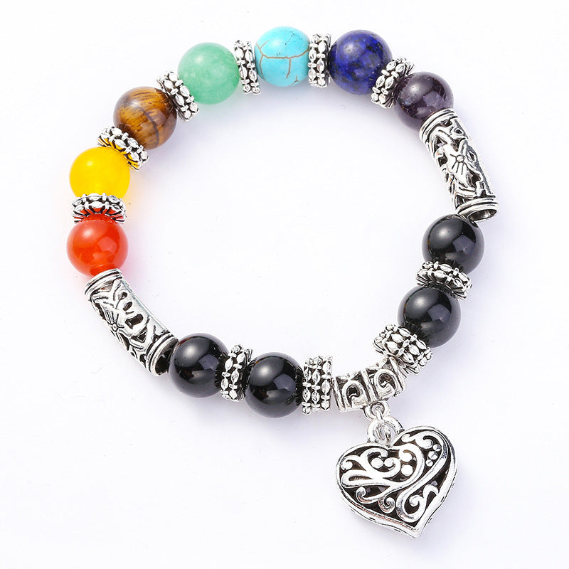Filigree Heart Rainbow Chakra Women's Bracelet
