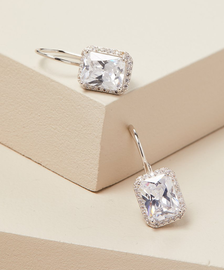 Emerald Cut Swarovski Elements Leverback Earrings in 14K White Gold Plating