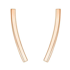 Pav'e Swarovski Elements Curved Bar Studs in 14K Rose Gold