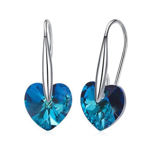 Blue  Elements Heart Shaped Drop Earrings in 14K White Gold