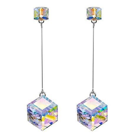 Aurora Borealis  Elements Cubed Dangling Earrings in 14K White Gold