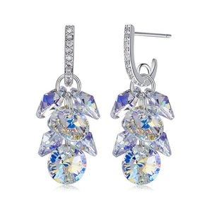 Aurora Borealis Swarovski Dangling Cluster Grapevine Earrings in 14K White Gold