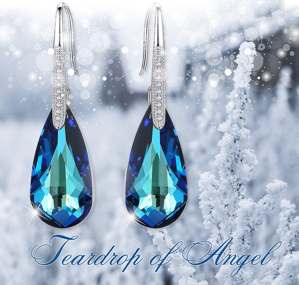 Bermuda Blue Drop Earring in Rhodium Plating