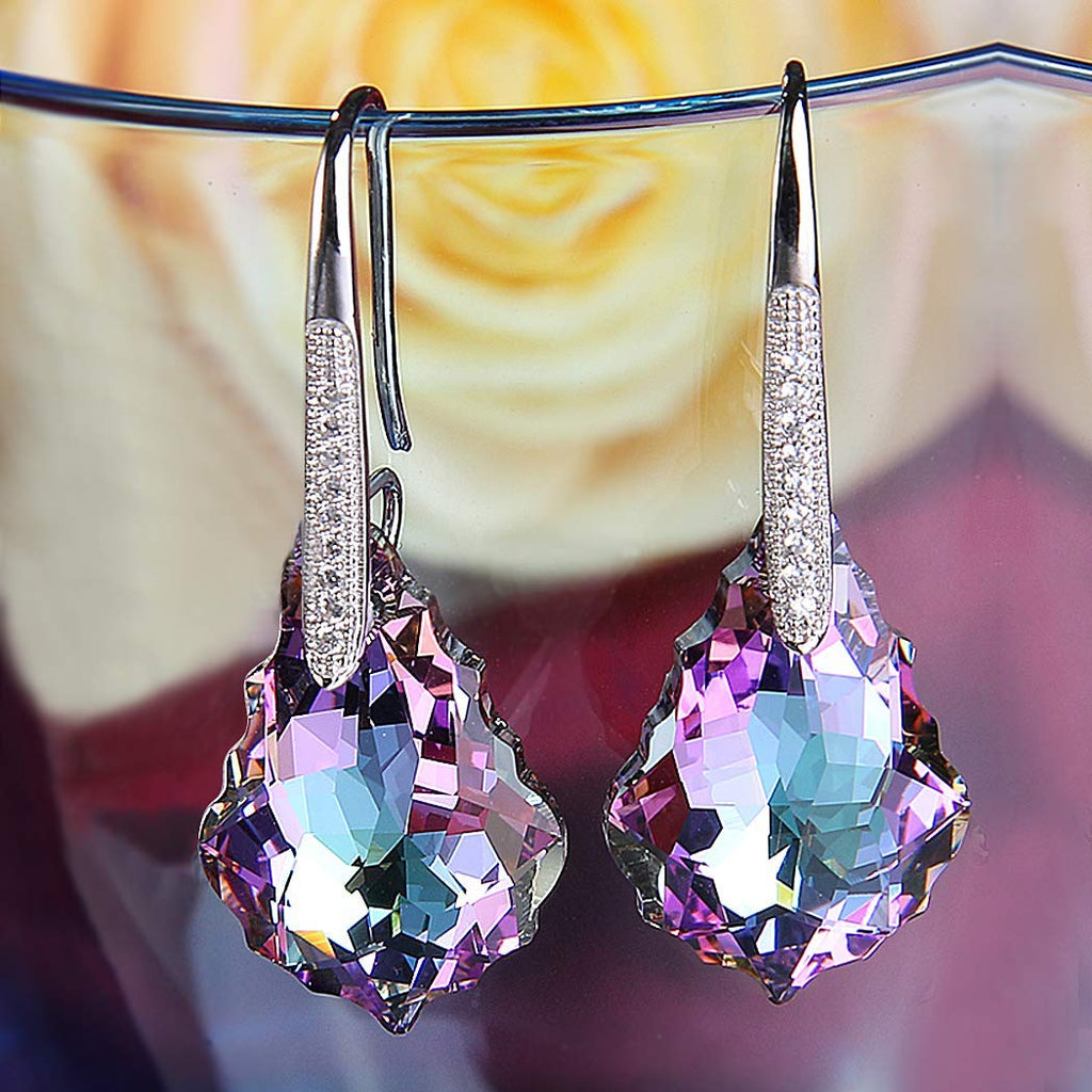 Blue & Purple Chandelier Swarovski Elements Drop Earrings in 14K White Gold Plating