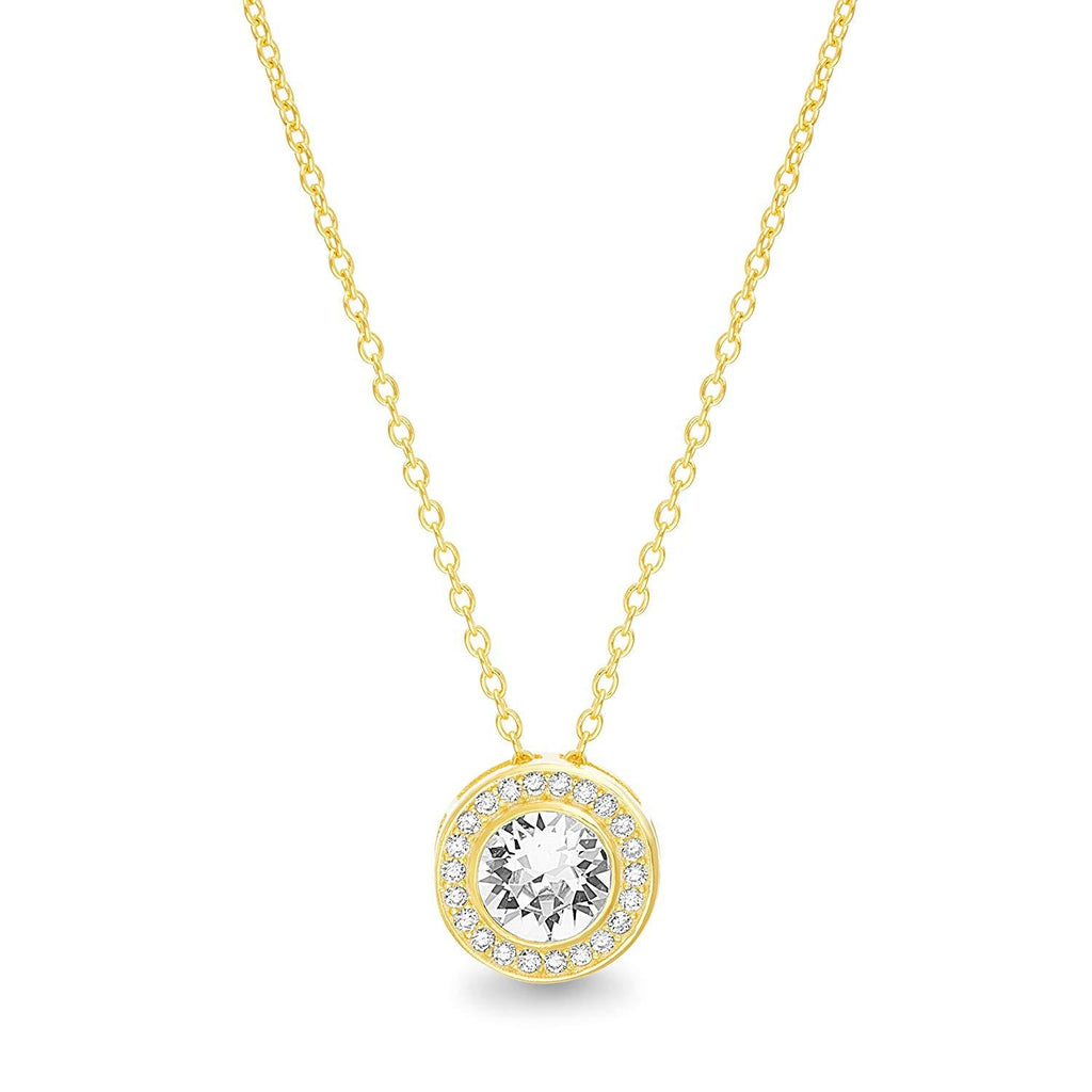 Riakoob Jewelry Round Halo Necklace Made with  Crystals in 18K Gold Plated