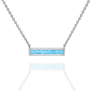 "Opal Created Bar Necklace 18"" - 18K White Gold Plated"