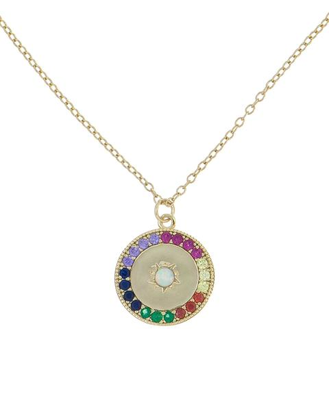 Rainbow Crystal Circular Evil Eye Protection Necklace in 14K Gold Plating