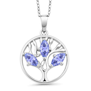 Tree of Life Purple Crystal Circular Pendant Necklace in 14K White Gold Plating