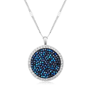 Blue Druzy Stone Circular Pendant Necklace in 14K White Gold
