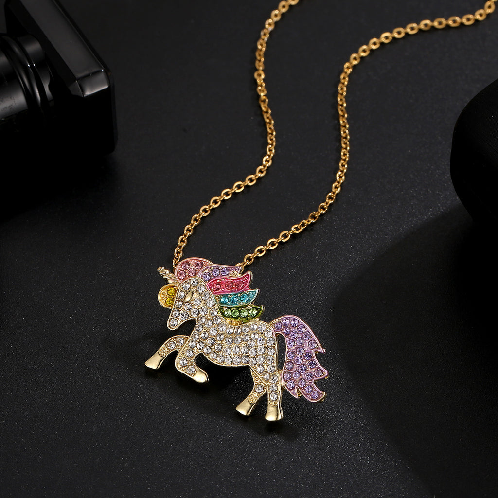 Crystal Rainbow Unicorn Necklace in 14K Gold - 2 Options