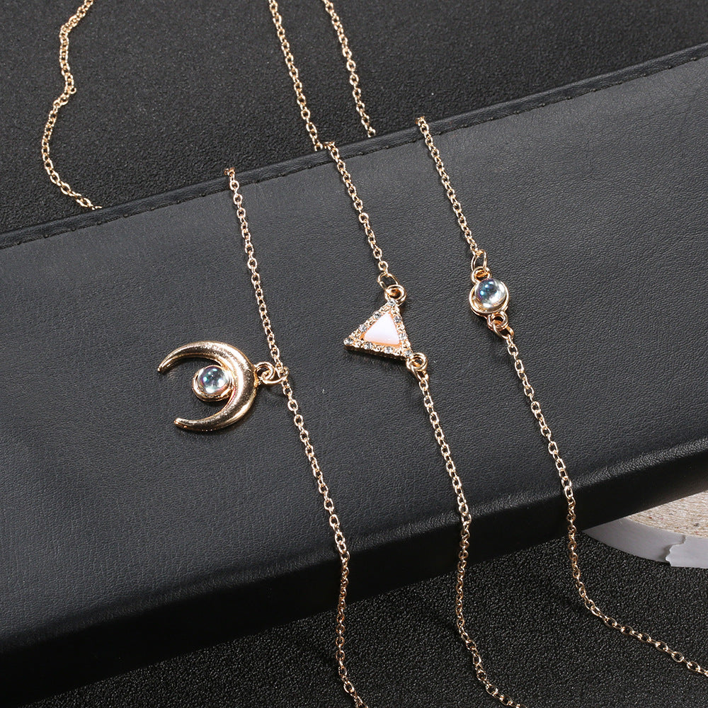 14K Rose Gold Plating Opal Crescent & Triangular Statement Necklace