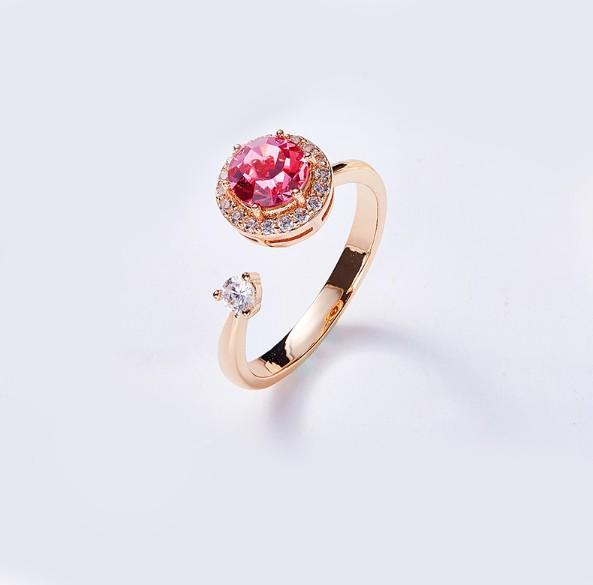 Twisted Pink  Elements Circular Halo Adjustable Ring
